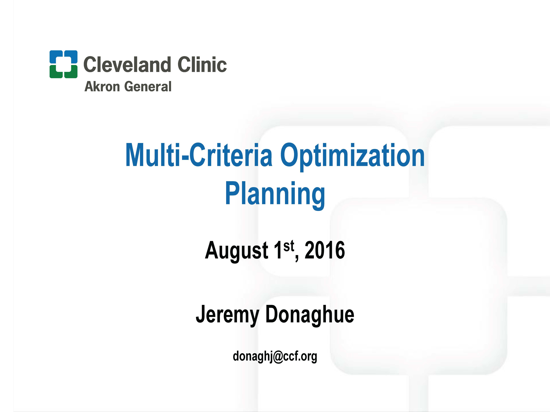 MO D BRC In Memoriam Of Jan Van De Geijn Knowledge Based Planning Multiple Criteria Optimization Presented By Jeremy Donaghue Akron General