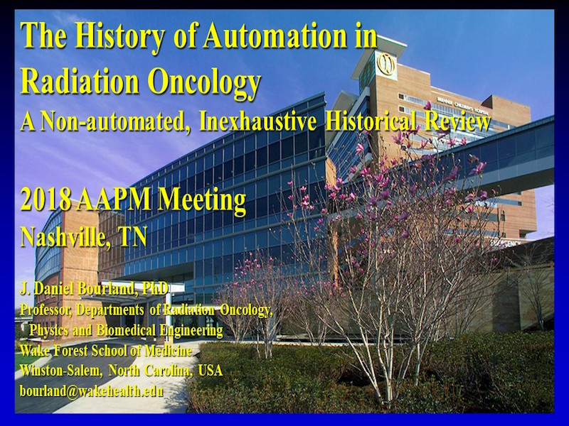 AAPM VL-Automation in Radiation Therapy: Past, Present, and