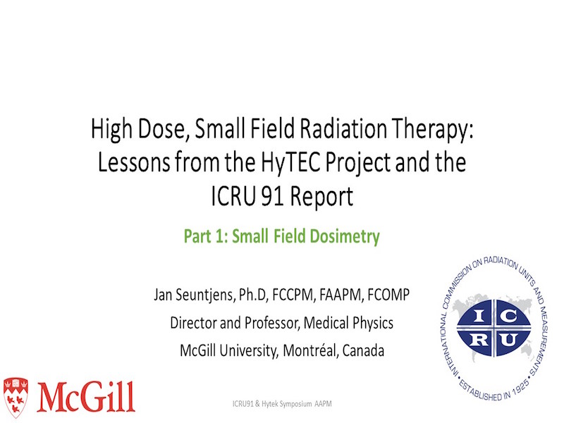 AAPM VL-High Dose, Small Field Radiation Therapy: Lessons